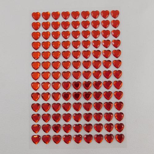 Red Heart Rhinestones Stickers Card making Embellishment kit gems pack