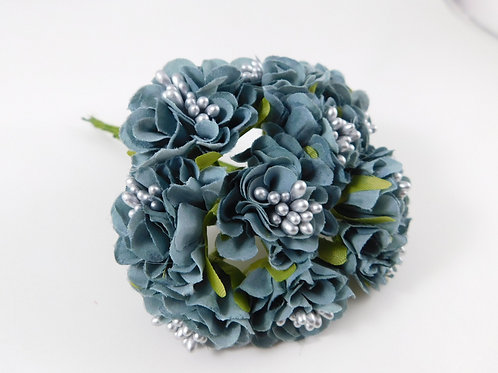 Artificial Fabric Silk Flowers Marigolds on Stems Weathered Blue scrapbooking ha