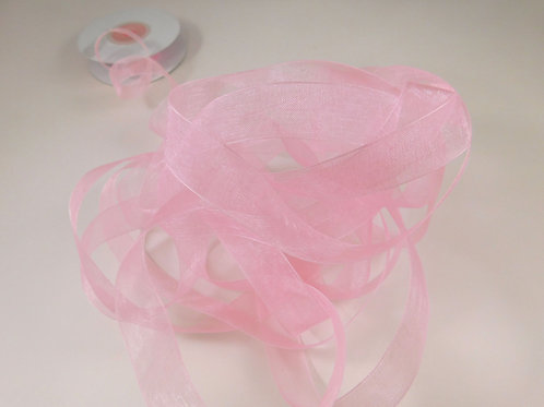 5/8 inch wide Pink Sheer Organza Ribbon 4 Yards for scrapbooking crafts journals