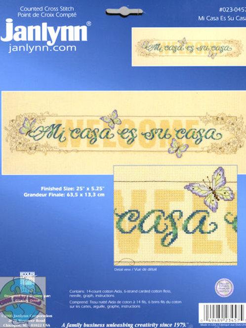Janlynn Counted Cross Stitch Kit Mi Casa Es Su Casa 023-0457 Large