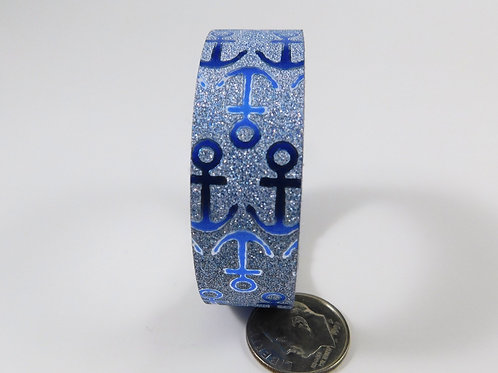 Blue Glitter Metallic Anchor Washi Tape 15mm 3.5 meters scrapbooking supplies