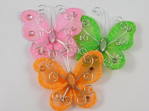 Orange Green Pink Glitter Butterflies Home Decor Crafts Flutter Embellishment