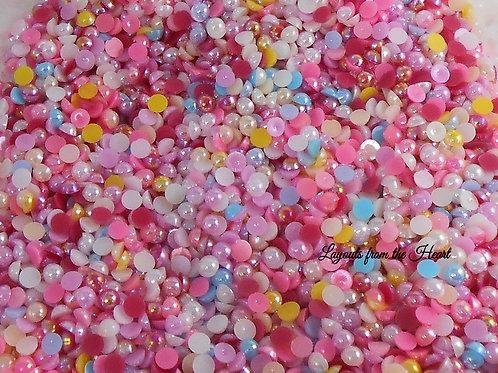 AB Acrylic Flat back Pearls 100 per pack 6 mm size - Random Mix