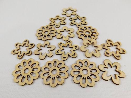 Delicate Wooden Flowers Assorted sampler crafts scrapbooking supplies