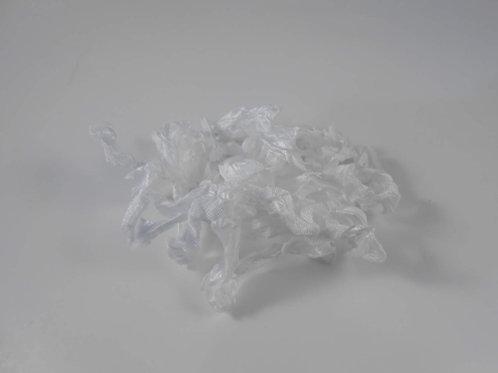 White Wrinkled Ribbon Handmade 4 Yards embellishment scrapbooking craft supplies