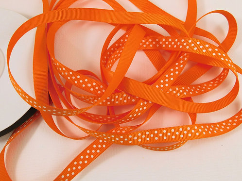 4 Yards Orange with White Dots Grosgrain Ribbon 3/8 inch wide embellishment
