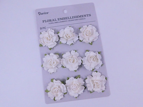 Darice Assorted Flowers Small Rose White Pack 30062086 mulberry paper flowers