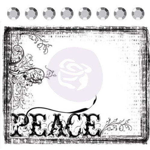 PEACE Clear Stamp from Prima Marketing 531294 flourish old style font scrapbooki
