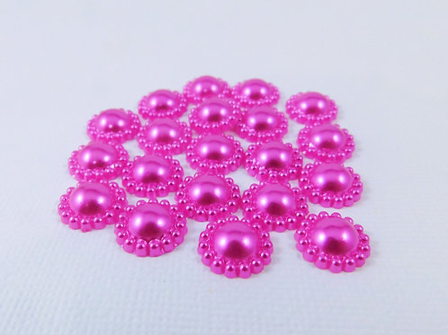 Fuschia Pink Flat Back Pearl Flower Embellishments 12mm scrapbooking crafts jour