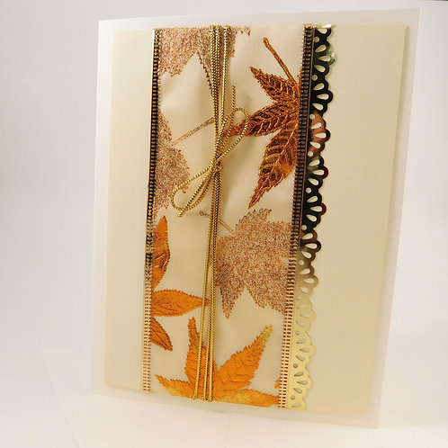 Handmade All Occasion Greeting Card Paper gold leaves fall copper