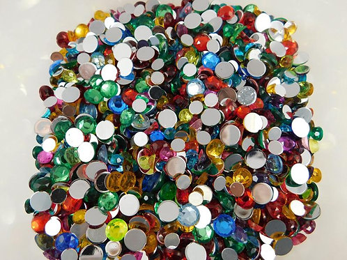 50 Multicolored Acrylic Flatback Round Rhinestones Assortment Embellishment Scra