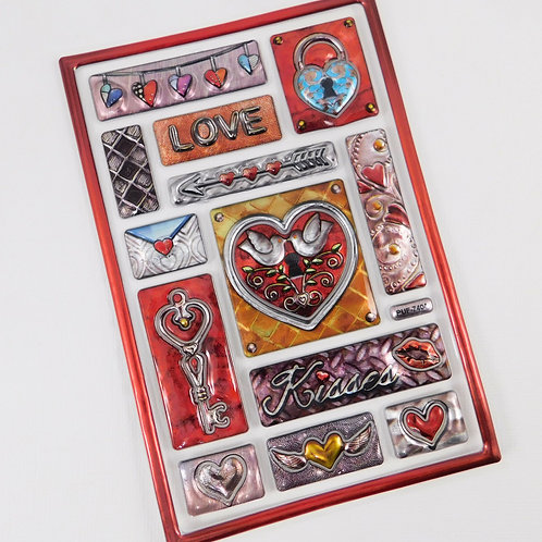 Metallic Stickers Love Hearts, Key, Kisses, Locket frame Red Silver Doves Arrows