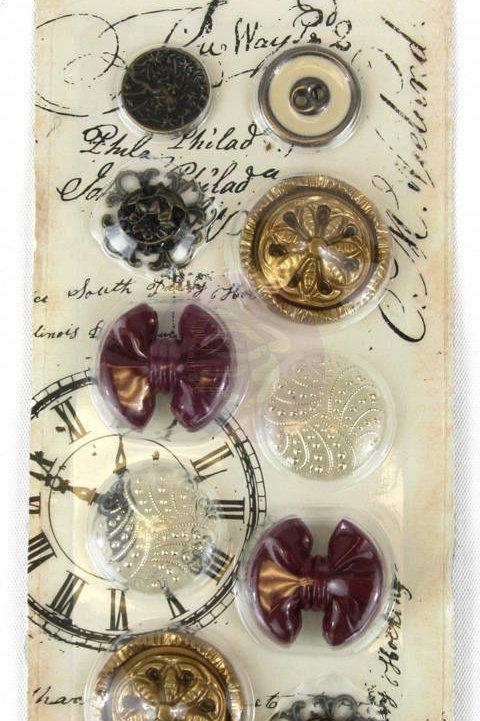 12 Premium Button Embellishments Prima buttons craft supplies scrapbooking