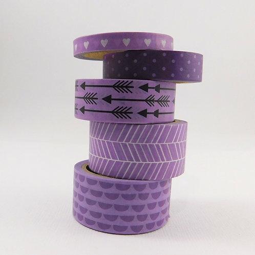 Washi Tape Rolls The Paper Studio Basic Deco Tape Purple White Black dots arrows