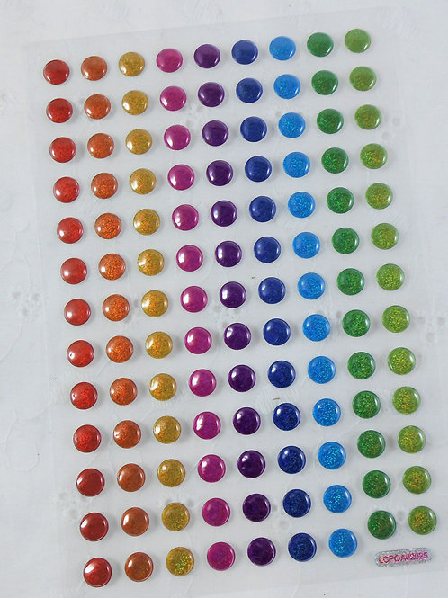 Pop Up Dots Glitter Rainbow Sheet Sticker Embellishment Puffy stickers accent