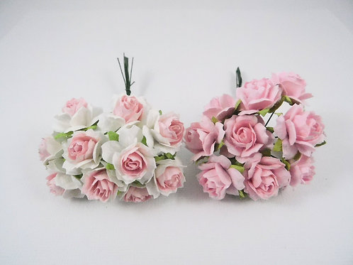 1 inch Scrapbooking Paper Flowers Jasmine stems Floral Light Pink White roses
