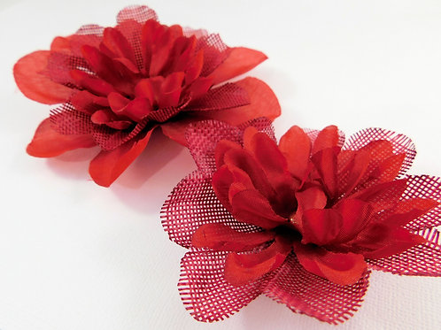 Burlap and Silk Flowers Red Assortment scrapbooking flowers Dahlia