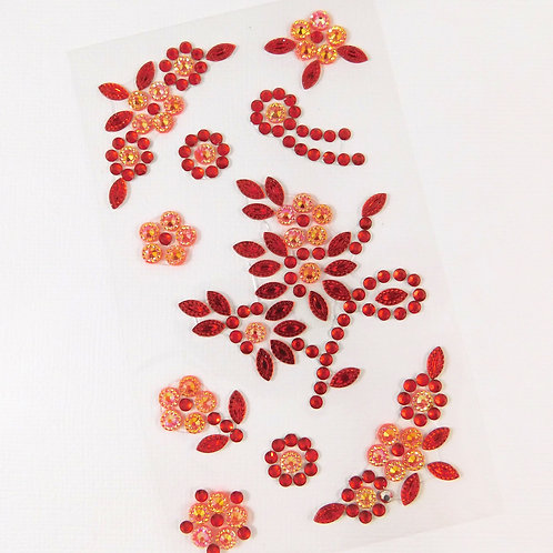 Red Flourish Flowers AB Sticker Floral Scrapbooking Embellishment vines leaves