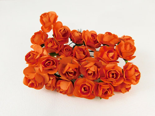 2 cm Orange Mini Paper Flowers roses stems supply floral embellishment