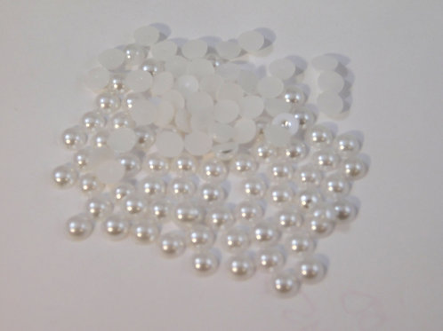 White Colored Acrylic Flat back Pearls 100 per pack 6 mm Half pearls embellish