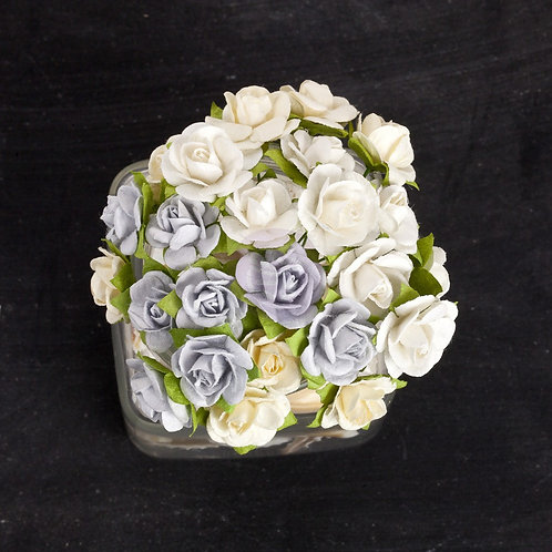 Prima Flowers Mini Sachet Frost Paper Roses with Stems Item 565763