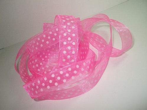 3 Yards Pink Organza ribbon 5/8 inch wide Quality trim