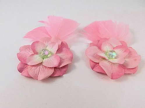 "Handmade Paper Flowers Pink Set of 2 embellish 3D Pretty 3"" Scrapbooking Cards"