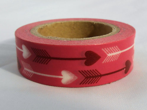 Washi Tape Roll 30 feet by .5 inches red white arrows Embellishment