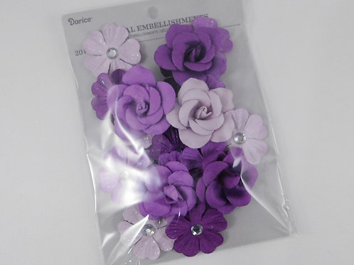 Darice Assorted Flowers Violet Purple Mix Roses and rhinestone 30062073