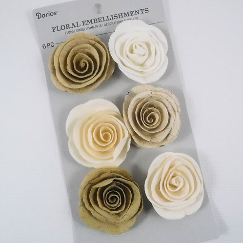 Darice Rolled Paper Florets Cream Tan 30061971 mulberry paper flowers