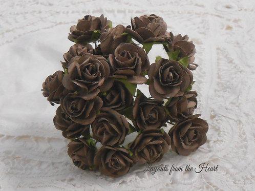 Prima Mulberry Paper Mini Roses 20 Prima Flower Embellishments Brown