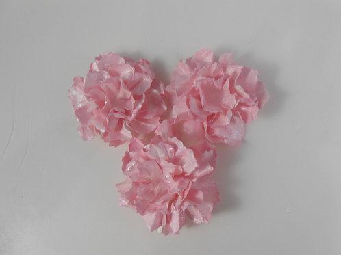 Handmade Paper Flowers Sweet Shabby Wild Roses Pink Shimmer Set of 3
