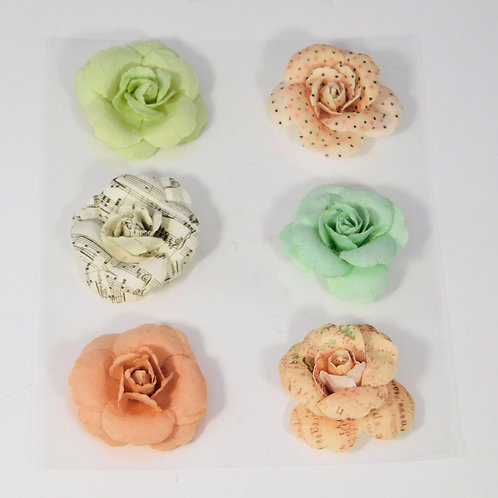 Paper Flowers Roses Polka Dots Pinks Wild roses crafting scrapbooking