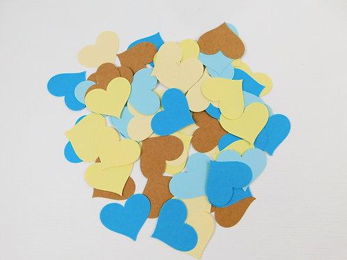 Beach Love Hearts Cardstock Die Cuts Set of 5 dozen Blue Kraft Yellow Cream