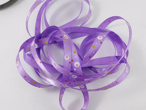 5 Yards Purple with Dots Circles Single Faced Satin Ribbon 3/8 inch