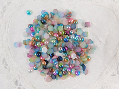 Two tone Acrylic Flat back Pearls 100 per pack 5mm size Random Mix Blue Pink
