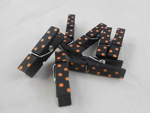 Mini Wooden Clothes Pin Embellishments black orange dots clothespins