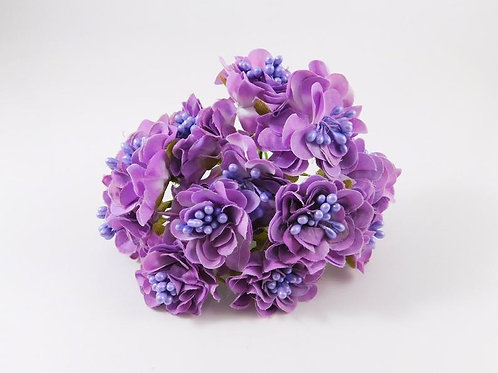 Artificial Fabric Silk Flowers Marigold on Stems Light Purple scrapbooking hair
