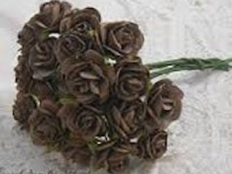Prima Paper Flowers Brown roses with stems Floral arranging supplies