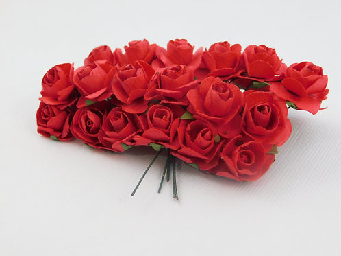 2 cm Red Mini Paper Flowers roses with stems supply Floral Flowers craft scrapbo