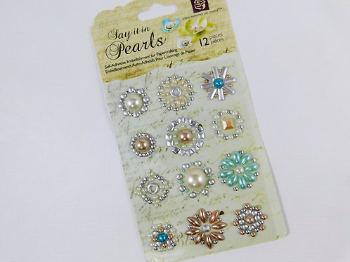 Prima Say it in Pearls Crystal Center 530983 Self adhesive Sticker Scrapbooking