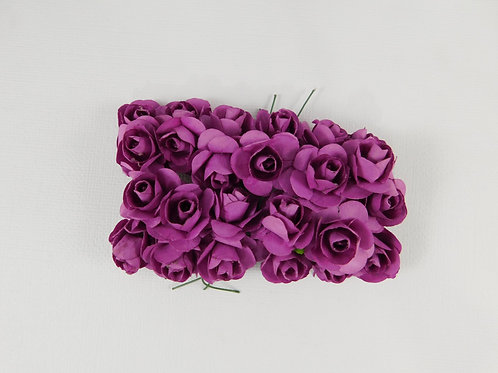 2 cm Purple Mini Paper Flowers roses with stems supply Floral Flowers craft scra