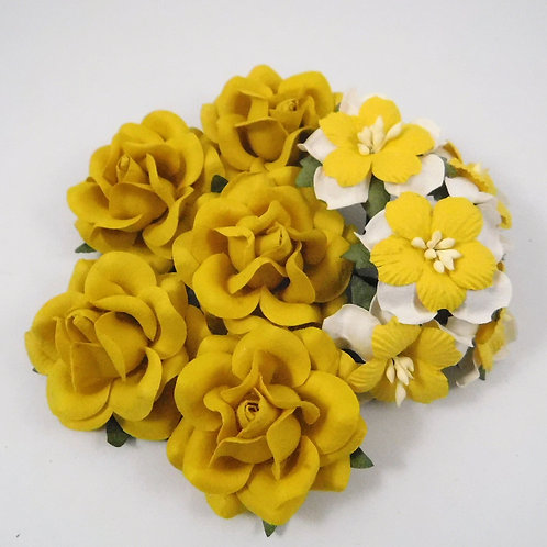 Scrapbooking Paper Flowers with stems Floral Yellow White Assortment lot 123