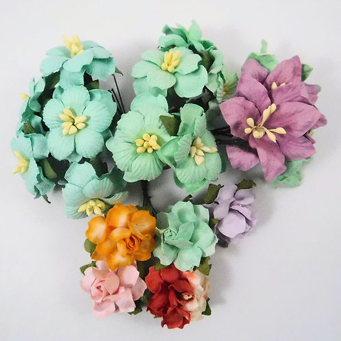 Scrapbook Paper Flowers with stems supply Floral Mint, Purple Assortment lot 124