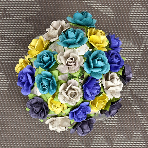 Prima Flowers Mini Sachet Bluejay Paper Roses with Stems Item 565985