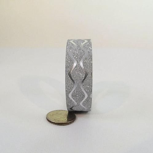 Silver Glitter Metallic Waves Washi Tape Roll 15mm 3.5 meters (3.83 yards) Embel