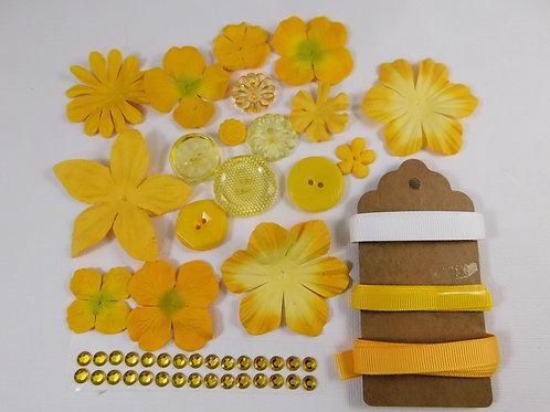 51 Pieces Prima Paper Flowers Yellow Embellishment Assortment Kit No 101