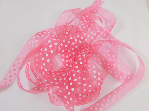 3 Yards Pink Organza ribbon 5/8 inch wide Quality trim crafts scrapbooking bows