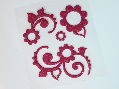 Pink flower flourish Sticker Flourish Scrapbooking Glitter Thicker floral