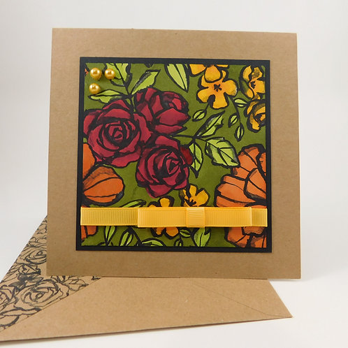 Handmade All Occasion Greeting Card Stamped Background Red Orange Green